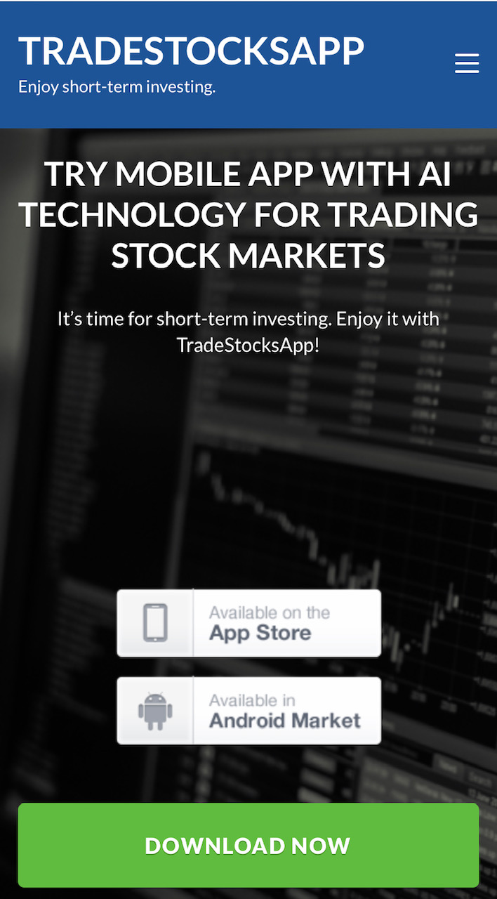 TradeStocksApp mobile app for short-term trading